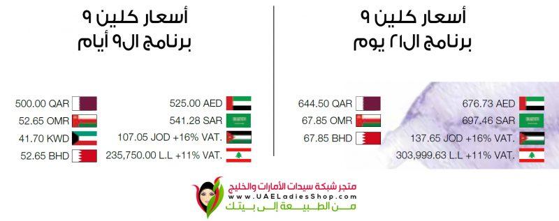 أسعار برنامج كلين 9 في السعودية والإمارات والكويت وقطر والبحرين وعمان والأردن ولبنان